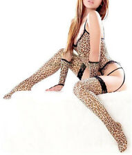 Leopard Sexy Nightwear Lingerie Stripper Costume Garter Thong Gloves Stockings