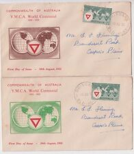 Stamp Australia 3&1/2d YMCA on pair Standard Stamp Co cachet first day covers