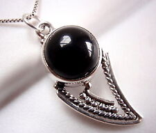 Black Onyx Tribal Style Necklace 925 Sterling Silver Imported from India New