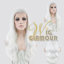 """Long Curly 24"""" Pure White Lace Front Synthetic Hair Wig Heat Resistant"""