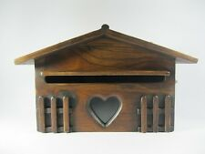 Wooden Mail Box Heart Post Box Holder Wall Hang Teak Wood Antique Vintage Style