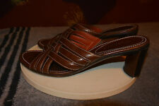 """Cole Haan Country Womens Open Toe 2"""" Heel Shoes Brown Leather Upper Size 8.5B"""