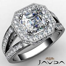 Lustrous Asscher Diamond Engagement Pre-Set Ring GIA I Color VS2 Platinum 1.63ct