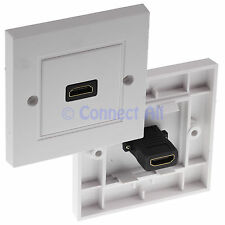 HDMI LEAD SINGLE FACEPLATE WHITE WALLPLATE WALL BOX FEMALE CABLE SOCKET HDTV TV