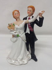 Caucasian Bride and Groom Wedding Cake Topper