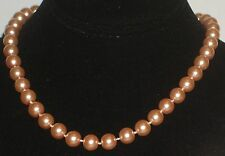 "10MM Lt Orange South Sea Shell Pearl Necklace 18"" NEW (silk gift bag) Or2"