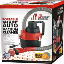 12V PORTABLE WET & DRY VACUUM CLEANER CAR BOAT VAN CARAVAN AND AIR INFLATOR PUMP