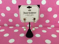 JUICY COUTURE simulated pearl long drop scottie dog chain gold tone EARRINGS