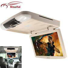 15.6'' Car Flip Down LCD Monitor Player Roof Mount Overhead Monitors MP5 DVD HD