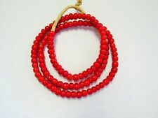 NICE RED AFRICAN WHITE HEART GLASS TRADE BEADS