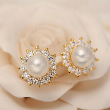 Fashion Women Lady Elegant Flower Pearl Crystal Rhinestone Ear Stud Earrings