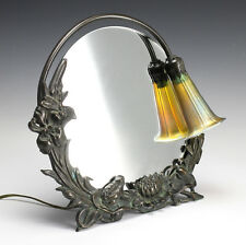 Bronze Dresser Mirror and Lamp - Gold iridescent art glass shade, raised floral