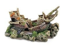 Large Galleon Shipwreck on Rock Cave Aquarium Ornament Fish Tank Decoration