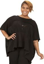 PRISA EURO OVERSIZED KNITWEAR SHORT PULLOVER TOP SWEATER BLK $309 O/S 28 PLUS