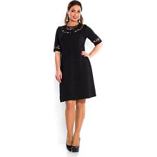 Womens Lace Loose Long Dress Cocktail Evening Party Formal Dress Black Red❤ Plus