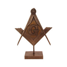 Bronze Masonic Square and Compasses G Plaque Freemason Desk Statue Mason Gift