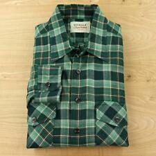 Viyella Deacon Brothers wool cotton blend flannel work shirt LARGE green plaid