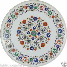 """24"""" White Marble Coffee Table Top Multi Gems Mosaic Inlay Marquetry Decor H636"""