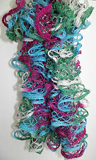 Handmade Knitted Frilly Lacy Boa Scarf; Color: Holiday Jewels