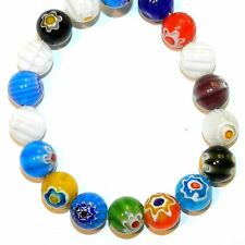 """G4250L2 Assorted Color Single Flower Millefiori 12mm Round Glass (30 Beads) 13"""""""