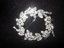 """VINTAGE STERLING SILVER/""""ICE"""" RHINESTONE SIGNED PHYLLIS PIN BROOCH-STUNNING"""