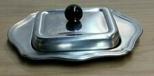 Vintage stainless steel Covered quarter pound BUTTER TRAY w/GLASS DISH SWEDEN