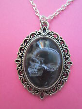 Black and White X-Ray Skull Silver Plated Necklace New in Gift Bag Gothic