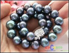 """P2981 HUGE REAL 17"""" 14mm ROUND peacock black PEARL NECKLACE SILVER"""