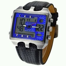 OHSEN Blue Smart Digital Water Resistant BackLight Soft Leather Wrist Watches