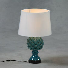 Turquoise Ceramic Artichoke Table Lamp With White Round Cotton Shade 52 cm High