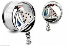 "PAIR-Sail Boat w/Anchor Steel Double Flare Tunnels 12mm/1/2"" Gauge Body Jewelry"