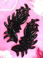"""JB258 Sequin Appliques Black MIRROR PAIR Dance Patch Beaded Appliques 7"""""""