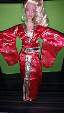 HANDMADE FASHION DOLL KIMONO 1/6 SCALE FOR BARBIE. RED WITH GOLD… NEW OOAK