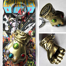New & Hot The Infinity Gauntlet Thanos 3D gloves Gold 6cm Metal Key chain Ring
