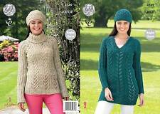 KING COLE 4349 ARAN KNITTING PATTERN SIZE 32-42  NOT the  FINISHED GARMENTS