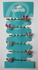 4CD Purple Blue Pink butterfly 6 HAIR JEWELRY BOBBY PIN CLAIRE's flower girl