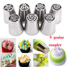 7X Russian Tulip Flower Cake Icing Piping Nozzles Decorating Tips Tools+Coupler
