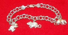 8mm Wide 14K Solid White Gold Double Rolo Link Bracelet 3 Charm Animals 12.5g
