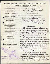 █ Facture 1912 Eug. Richard à Belfort Entreprise générales d'électricité Lampes