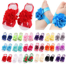 10pcs Cute Baby Girl's Kids Lace Flowers Foot Band Ties Barefoot Sandals Shoes
