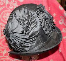 Antique Ladies Black Silk Edwardian 1920s Hat Cloche