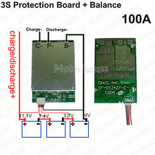 3S 11.1V 100A w/Balance Li-ion Lithium 18650 Batterie  BMS PCB Protection Board