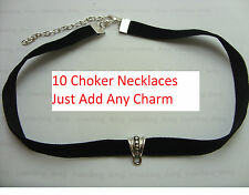 "10 x Add Your Own Charm Black 10mm Velvet Cord 13"" Choker Necklace Pagan Gothic"