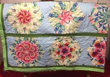 Hand Made Twin Size Quilt Coverlet Green Blue Floral 20 Patch Snowflake 81 x 116