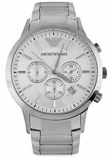 New Emporio Armani AR2458 XL Sportivo Silver Chrono SS Mens Watch MSP$345 NR