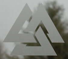 Asatru valknut Odin trefoil knot viking etched glass vinyl decal sticker