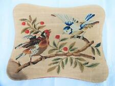 ANTIQUE VICTORIAN NEEDLEWORK WOOLWORK PANEL MOUNTED on BOARD - BIRDS - c1860