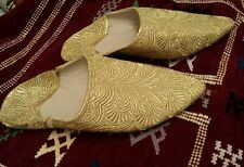 Moroccan Slippers Flats Handmade Berber Shoes New Size 5 UK Gold Balgah