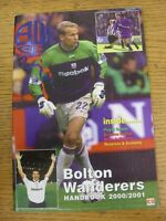 2000/2001 Bolton Wanderers: Official Handbook. Good condition unless previously