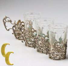Antique Coppini 800 Silver Cup Holder With Glass Insert Lot Of 4 Made in Italy